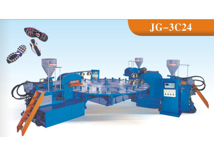 Three Colors Sport Sole Making Machine , Footwear Pvc Injection Moulding Machine