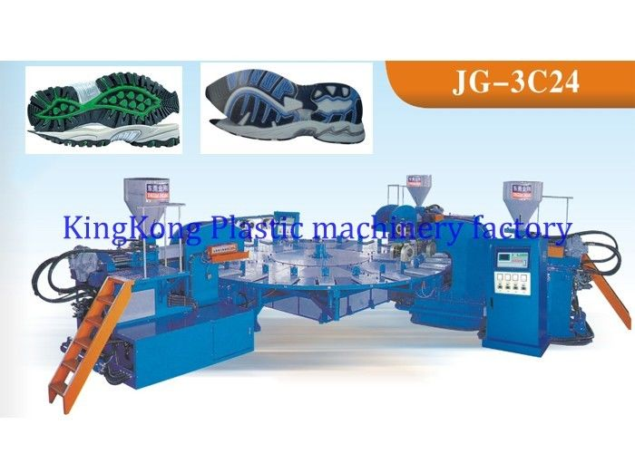 Three Colors Footwear TPR Sole Moulding Machine For Sport Shoe 24 Stations
